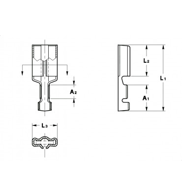 STRAIGHT RECEPTACLES 2,8 FOR PINS AND TABS