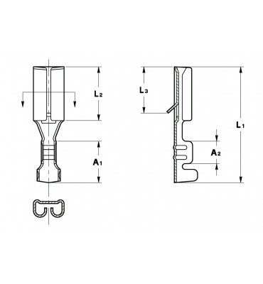 STRAIGHT RECEPTACLES 2,8 FOR MULTI-WAY CONNECTIONS (WITH LOCKING LANCE)