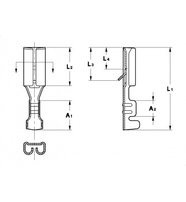 STRAIGHT RECEPTACLES 2,8 FOR MULTI-WAY CONNECTIONS (WITH LOCKING LANCE) INDENTATIONED