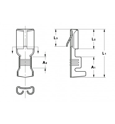 STRAIGHT RECEPTACLES 4,8 FOR MULTI-WAY CONNECTIONS (WITH LOCKING LANCE)