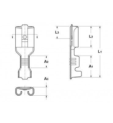 STRAIGHT RECEPTACLES 4,8 SHORT CANTILEVER