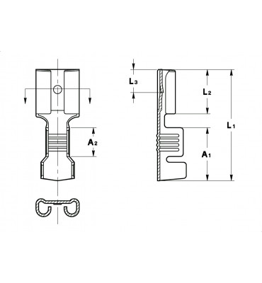 STRAIGHT RECEPTACLES 6,3 WITHOUT SLOTS