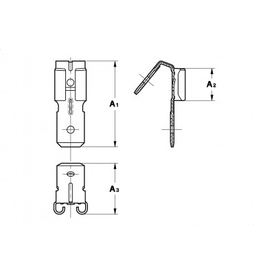 STRAIGHT RECEPTACLES FOR MULTI-WAY CONNECTIONS 6,3 WITH TAB WITHOUT CRIMPING
