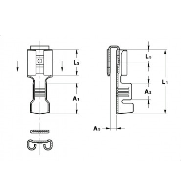 STRAIGHT RECEPTACLES FOR MULTI-WAY CONNECTIONS 6,3 WITH TAB