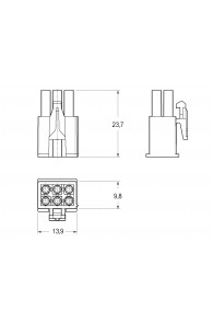 INAR-MINILOCK UNIVERSAL HOUSINGS MALE 6 POSITION