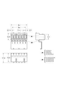 INAR-LIF CONNECTORS FOR FLAG TYPE RECEPTACLES 6,3 RAST 5