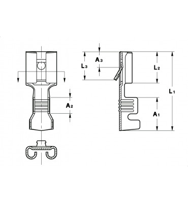 STRAIGHT RECEPTACLES 6,3 FOR MULTI-WAY CONNECTIONS (WITH LOCKING LANCE) INDENTATIONED