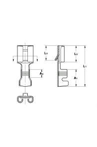 INAR-SPLICE STRAIGHT RECEPTACLES 6,3 FOR MULTI-WAY CONNECTIONS (WITH LOCKING LANCE)
