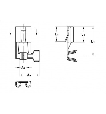 FLAG TYPE RECEPTACLES 6,3 FOR MULTI-WAY CONNECTIONS (WITH LOCKING LANCE)