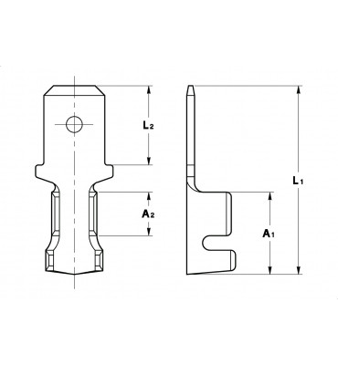 WIRE CRIMP TABS 6,3 MATERIAL THICKNESS 0,80