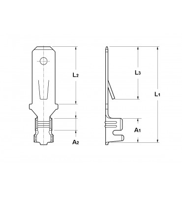 WIRE CRIMP TABS 4,8 FOR MULTI-WAY CONNECTIONS (WITH LOCKING LANCE)