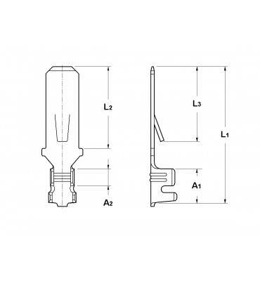 WIRE CRIMP TABS 4,8 FOR MULTI-WAY CONNECTIONS (WITH LOCKING LANCE) WITHOUT HOLE