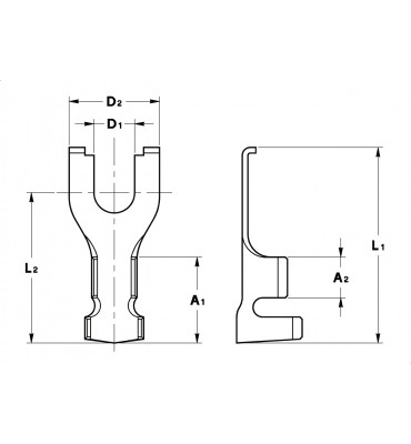 FORK TERMINALS WITH LOCKING TOOTH