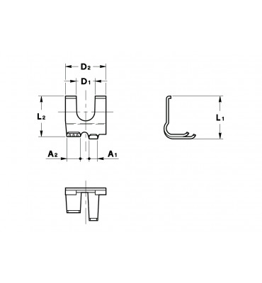 FLAG TYPE FORK TERMINALS RIGHT WITH LOCKING TOOTH