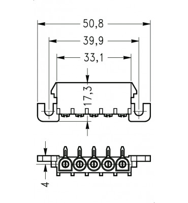 INAR-LOCK 90° HOUSINGS FOR PC BOARD WITH PINS 5 POSITION