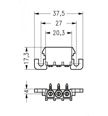INAR-LOCK 90° HOUSINGS FOR PC BOARD WITH PINS 3 POSITION