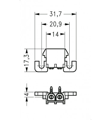 INAR-LOCK 90° HOUSINGS FOR PC BOARD WITH PINS 2 POSITION