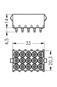 INAR-LOCK HOUSINGS FOR PC BOARD WITH SOCKETS 15 POSITION