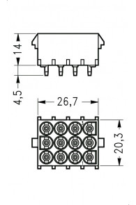 INAR-LOCK HOUSINGS FOR PC BOARD WITH SOCKETS 12 POSITION