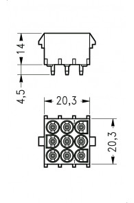 INAR-LOCK HOUSINGS FOR PC BOARD WITH SOCKETS 9 POSITION
