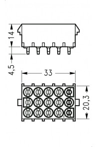 INAR-LOCK HOUSINGS FOR PC BOARD WITH PINS 15 POSITION