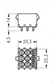 INAR-LOCK HOUSINGS FOR PC BOARD WITH PINS 9 POSITION