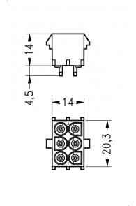 INAR-LOCK HOUSINGS FOR PC BOARD WITH SOCKETS 6 POSITION