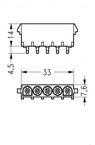 INAR-LOCK HOUSINGS FOR PC BOARD WITH SOCKETS 5 POSITION