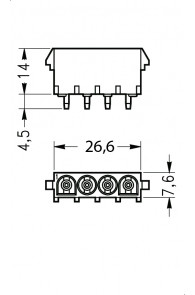 INAR-LOCK HOUSINGS FOR PC BOARD WITH SOCKETS 4 POSITION