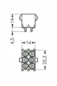INAR-LOCK HOUSINGS FOR PC BOARD WITH PINS 6 POSITION
