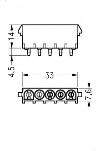 INAR-LOCK HOUSINGS FOR PC BOARD WITH PINS 5 POSITION