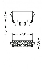 INAR-LOCK HOUSINGS FOR PC BOARD WITH PINS 4 POSITION