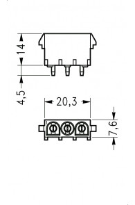 INAR-LOCK HOUSINGS FOR PC BOARD WITH PINS 3 POSITION