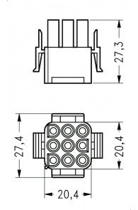 INAR-LOCK UNIVERSAL HOUSINGS MALE 9 POSITION