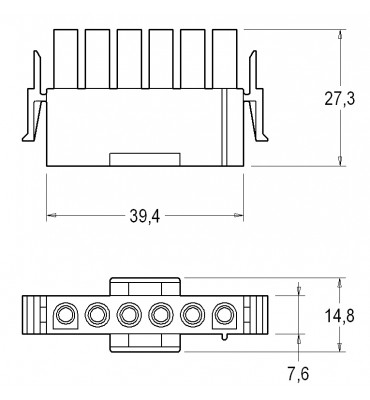 INAR-LOCK UNIVERSAL HOUSINGS MALE 6 POSITION