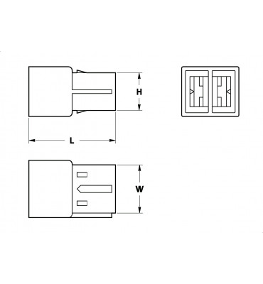 RECEPTACLES HOUSINGS 6,3 2 POSITION WITH POLARIZATION