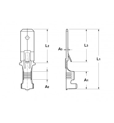 WIRE CRIMP TABS 6,3 FOR MULTI-WAY CONNECTIONS (WITH LOCKING LANCE)