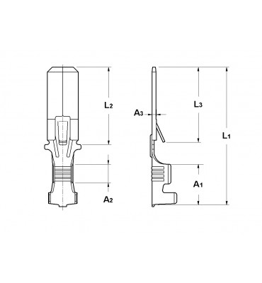 WIRE CRIMP TABS 6,3 FOR MULTI-WAY CONNECTIONS (WITH LOCKING LANCE) WITHOUT HOLE